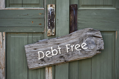 debt free sign on door